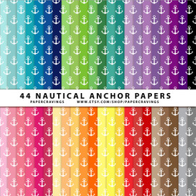 "Nautical Anchor Digital Paper Pack 12"" x 12"" (44 colors) INSTANT DOWNLOAD"