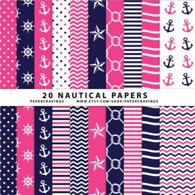 """Nautical Pack 1 Digital Paper Pack 12"""" x 12"""" INSTANT DOWNLOAD"""