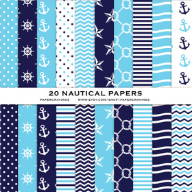 """Nautical Pack 2 Digital Paper Pack 12"""" x 12"""" INSTANT DOWNLOAD"""