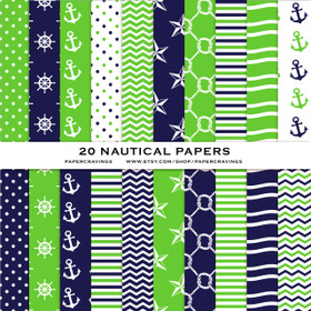 """Nautical Pack 3 Digital Paper Pack 12"""" x 12"""" INSTANT DOWNLOAD"""
