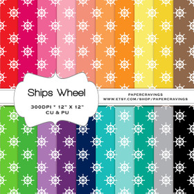 """Nautical Ships Wheel Digital Paper Pack 12"""" x 12"""" (20 colors) - INSTANT DOWNLOAD"""