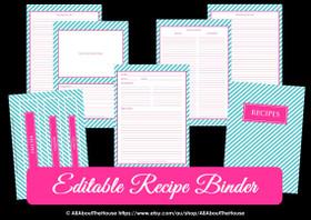 EDITABLE Recipe Binder Printables - Blue Stripe & Pink - INSTANT DOWNLOAD
