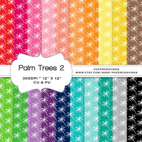 """Palm Trees 2 Digital Paper Pack 12"""" x 12"""" (20 colors) - INSTANT DOWNLOAD"""