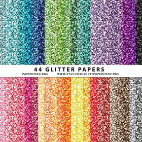 "Glitter Digital Paper Pack 12"" x 12"" (44 colors) INSTANT DOWNLOAD"