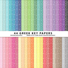 "Greek Key 2 Digital Paper Pack 12"" x 12"" (44 colors) INSTANT DOWNLOAD"