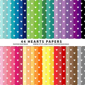 "Tiny Hearts Digital Paper Pack 12"" x 12"" (44 colors) INSTANT DOWNLOAD"