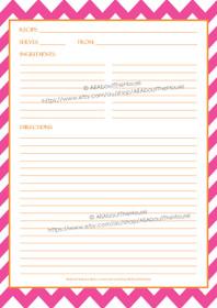 Pink Chevron & Orange Recipe Sheet - EDITABLE - INSTANT DOWNLOAD