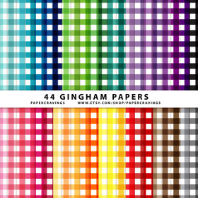 "Gingham 2 Digital Paper Pack 12"" x 12"" (44 colors) INSTANT DOWNLOAD"