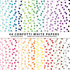 "Confetti 3 White Digital Paper Pack 12"" x 12"" (44 colors) INSTANT DOWNLOAD"