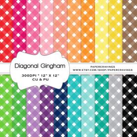 "Diagonal Gingham 4 - Basics Digital Paper Pack 12"" x 12"" (20 colors) - INSTANT DOWNLOAD"