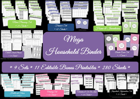 DARK BLUE Mega Household Binder - EDITABLE - Instant Download
