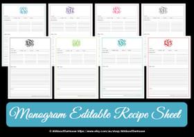 EDITABLE - Monogram Recipe Sheet