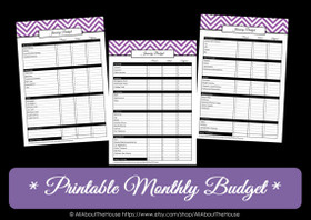 PURPLE Monthly Budget - EDITABLE - Instant Download