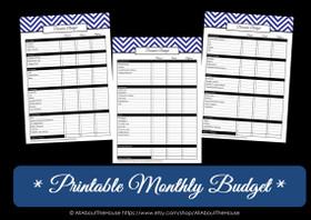 DARK BLUE Monthly Budget - EDITABLE - Instant Download