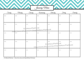 EDITABLE Monthly Meal Planner Calendar - Blue 3 - INSTANT DOWNLOAD