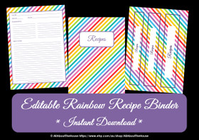 FREE Rainbow Recipe Binder Printables - Instant Download