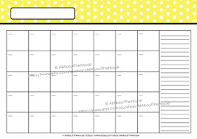 EDITABLE Perpetual Calendar - Style 2 - Dots - Yellow - INSTANT DOWNLOAD