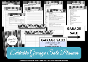 BLACK - EDITABLE - Garage Sale Planner -  Yard Sale Organizer - Chevron Printable  - INSTANT DOWNLOAD