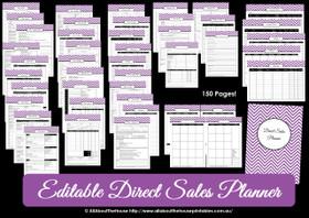 DARK BLUE Direct Sales Planner - Editable - Instant Download