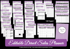 Direct Sales Planner - ALL 7 COLOURS - Editable - Instant Download
