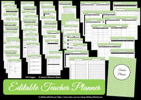 GREY - EDITABLE - Teacher Planner - Instant Download