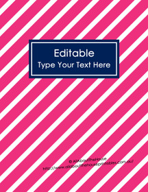 """EDITABLE Binder Cover - Letter Size (8.5 x 11"""") - Style 4 - 81 (pink), 21 (navy)"""
