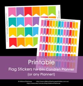 Printable Calendar /  Planner Stickers - Flags - Rainbow