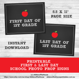 Grade Signs - School Photo Prop - First Day and Last Day - Instant Download
