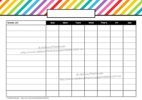 Childrens chore chart weekly rainbow - Editable - instant download