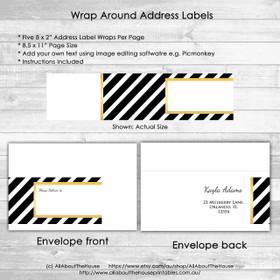 Address Label Wrap - Metallic Gold Black Stripe Printable jpg editable using free image editing software e.g. Picmonkey - instant download