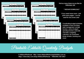 Quarterly Budget Calendar - EDITABLE - All 7 Colours - Finance//Budgeting Planner Printables