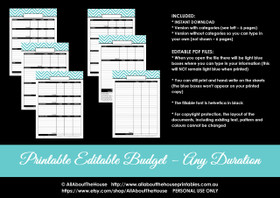 EDITABLE Budget - Any Duration e.g. monthly - All 7 Colours - Finance//Budgeting Planner Printables