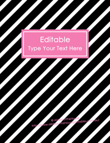 """EDITABLE Binder Cover - Letter Size (8.5 x 11"""") - Style 4 - black (118), pink (71)"""