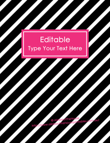 """EDITABLE Binder Cover - Letter Size (8.5 x 11"""") - Style 4 - black (118), hot pink (81)"""