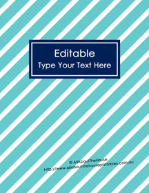 """EDITABLE Binder Cover - Letter Size (8.5 x 11"""") - Style 4 - light blue (6), navy (21)"""