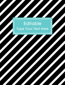 """EDITABLE Binder Cover - Letter Size (8.5 x 11"""") - Style 4 - black (118), blue (6)"""