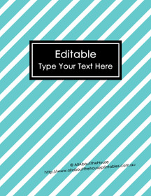 """EDITABLE Binder Cover - Letter Size (8.5 x 11"""") - Style 4 - blue (6), black (118)"""