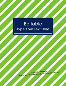 "EDITABLE Binder Cover - Letter Size (8.5 x 11"") - Style 4 - green (40), navy (21)"