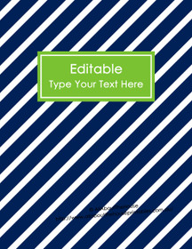 "EDITABLE Binder Cover - Letter Size (8.5 x 11"") - Style 4 - navy (21), green (40)"