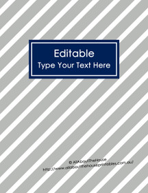 """EDITABLE Binder Cover - Letter Size (8.5 x 11"""") - Style 4 - grey (114), navy (21)"""