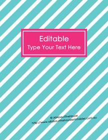 """EDITABLE Binder Cover - Letter Size (8.5 x 11"""") - Style 4 - blue (6), pink (81)"""
