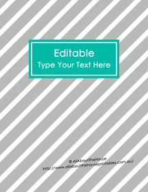 """EDITABLE Binder Cover - Letter Size (8.5 x 11"""") - Style 4 - grey (114), blue/teal (29)"""