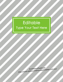 "EDITABLE Binder Cover - Letter Size (8.5 x 11"") - Style 4 - grey (114), green (40)"