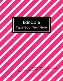 """EDITABLE Binder Cover - Letter Size (8.5 x 11"""") - Style 4 - 81 (Hot Pink), 118 (Black)"""