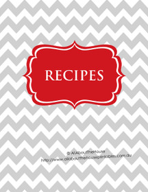 Grey Chevron & Red Recipe Binder - EDITABLE - 54 Sheets - INSTANT DOWNLOAD