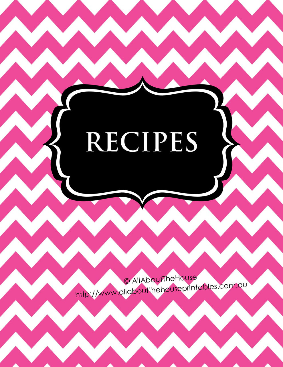 Pink Chevron & Black Recipe Binder - EDITABLE - 54 Sheets - INSTANT ...