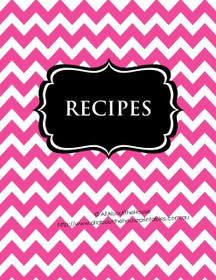Pink Chevron & Black Recipe Binder - EDITABLE - 54 Sheets - INSTANT DOWNLOAD