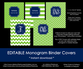 EDITABLE Monogram Binder Covers - 40 (green), 21 (navy)
