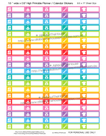 "Baking - Printable Calendar /  Planner Stickers - 1.5 x 0.5"" - Rainbow"