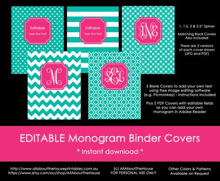 EDITABLE Monogram Binder Covers - 29 (teal), 81 (pink ...